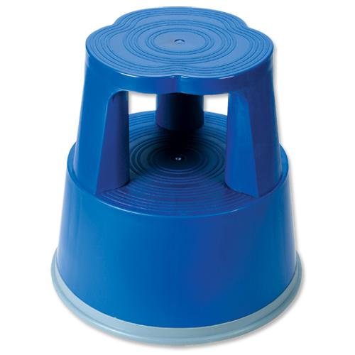 5 Star Facilities Step Stool Mobile Plastic Lightweight Strong Top D290xH430xBaseD400mm 2.8kg Blue