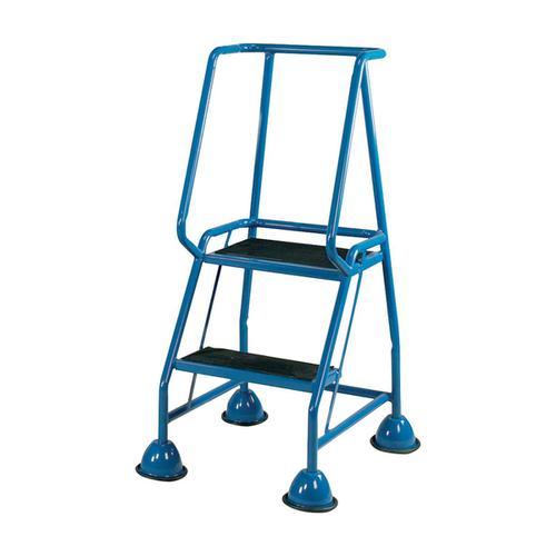 Mobile Steps on Retractable Castors Double Handrails Two Tread W580xD540xH1185mm Blue