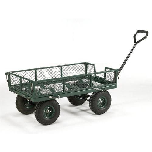 Platform Truck Toptruck Mesh Four Sided Capacity 250kg Pneumatic Wheels Green