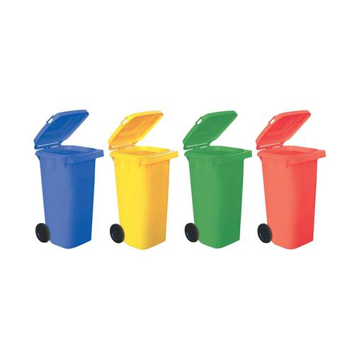 Wheelie Bin High Density Polyethylene with Rear Wheels 120 Litre Capacity 480x560x930mm Red