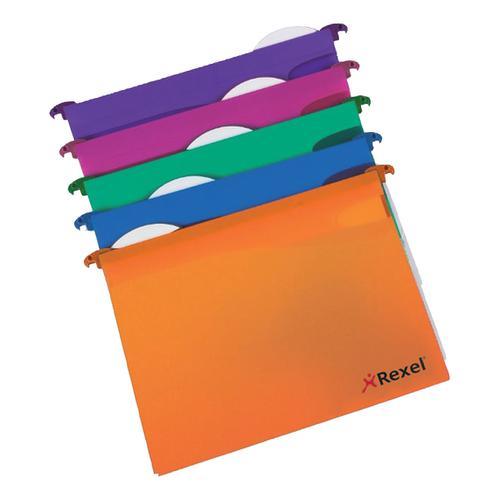 Rexel Multifile Extra Suspension File Polypropylene 30mm Wide-base A4 Assorted Ref 2102573 [Pack 10]