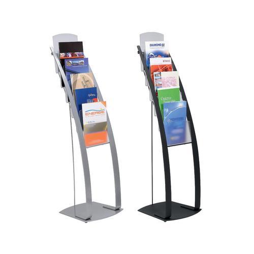 Deflecto Contemporary Literature Display Flr Stand 6x A4 Pkts 375x380x1260mm Slv Ref DE693145