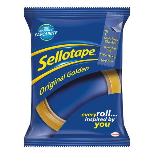 Sellotape Original Golden Tape Roll Non-static Easy-tear Large 48mmx66m Ref 1443304 [Pack 6]