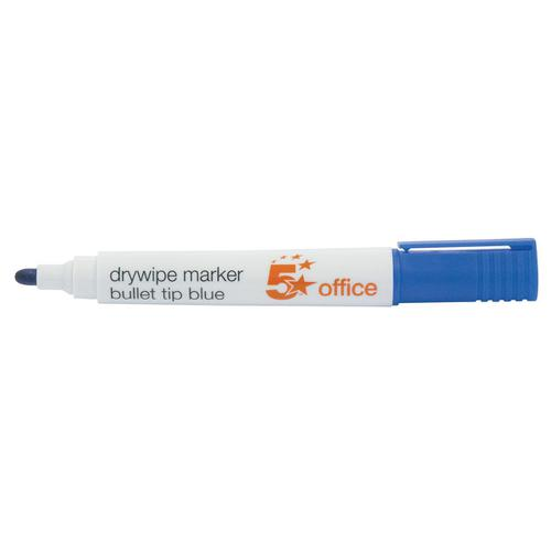 5 Star Office Drywipe Marker Xylene/Toluene-free Bullet Tip 3mm Line Blue [Pack 12]