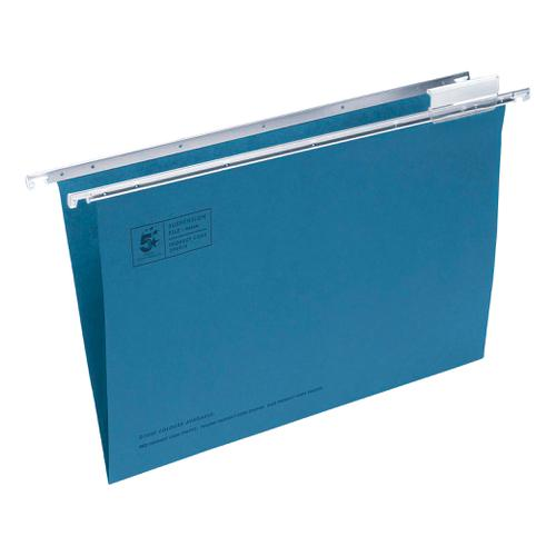 5 Star Office Suspension File with Tabs and Inserts Manilla 15mm V-base 180gsm Foolscap Blue [Pack 50]
