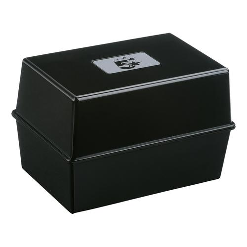 5 Star Office Card Index Box Capacity 250 Cards 5x3in 127x76mm Black