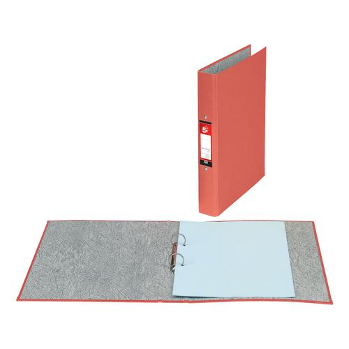 5 Star Office Ring Binder 2 O-Ring Size 25mm Paper on Board A4 Red [Pack 10]