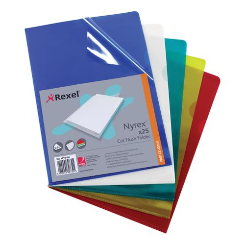 Rexel Nyrex Folder Cut Flush A4 Green Ref 12161GN [Pack 25]