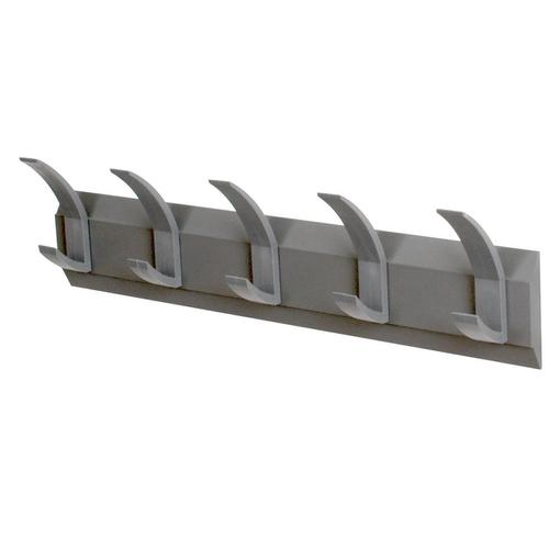Acorn Hat and Coat Wall Rack with Concealed Fixings 5 Hooks 600x50x120mm Graphite Ref