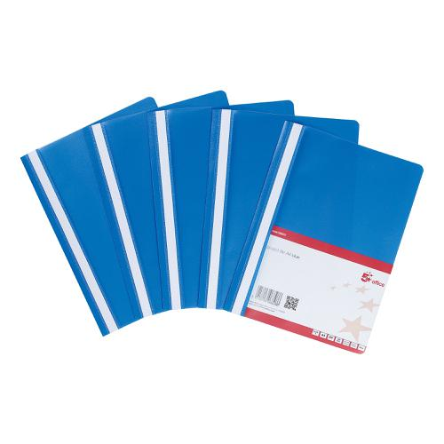 5 Star Office Project Flat File Lightweight Polypropylene with Indexing Strip A4 Blue [Pack 5]