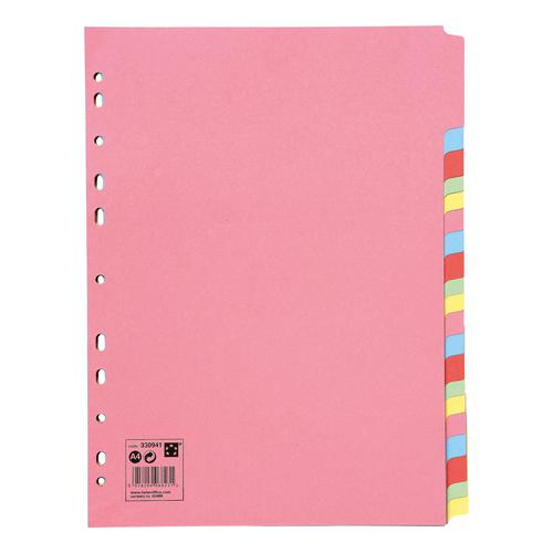 5 Star Office Subject Dividers 20-Part Recycled Card Multipunched 155gsm A4 Assorted