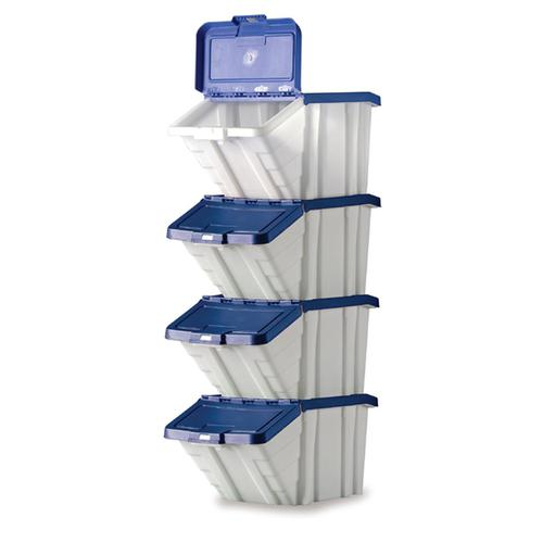 Storage Container Bin 50L 30kg Load W390xD630xH340mm White and Blue Lid [Pack 4]