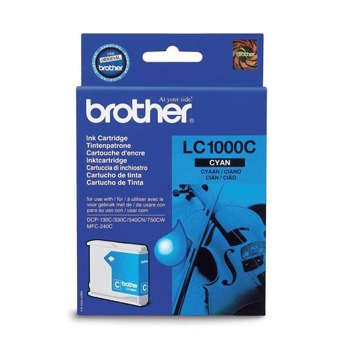 Brother Inkjet Cartridge Page Life 500pp Cyan Ref LC1000C