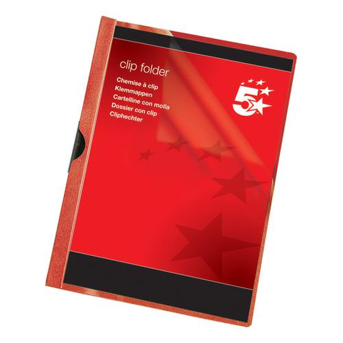 5 Star Office Clip Folder 6mm Spine for 60 Sheets A4 Red [Pack 25]