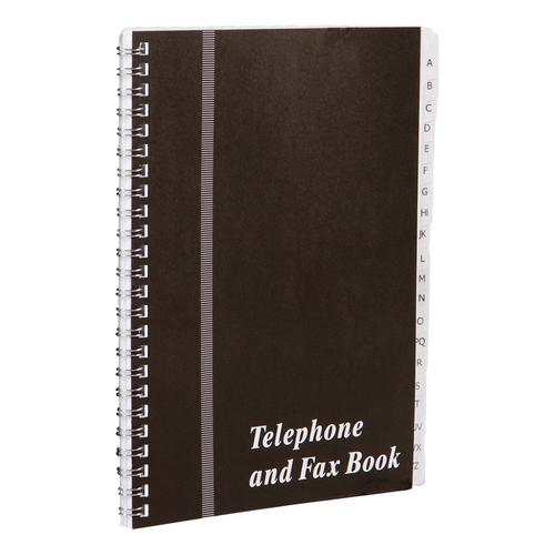 Telephone and Fax Book A-Z Index Wirebound Board Cover A5 Black