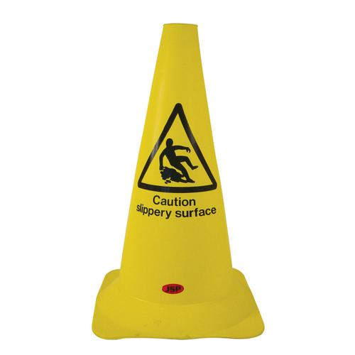 Safety Cone PVC Caution Slippery Surface H500mm Yellow/Black text