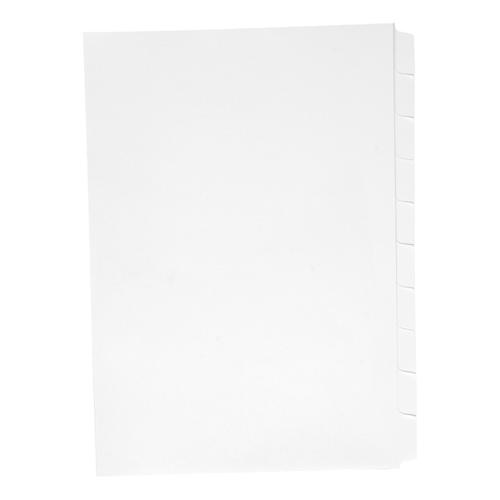 Concord Reverse Collated Subject Dividers 10-Part Unpunched 150gsm A4 White Ref 7501 [Pack 25]