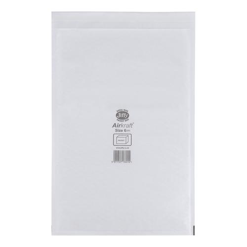 Jiffy Airkraft Bag Bubble-lined Size 6 Peel and Seal 290x445mm White Ref JL-6 [Pack 50]
