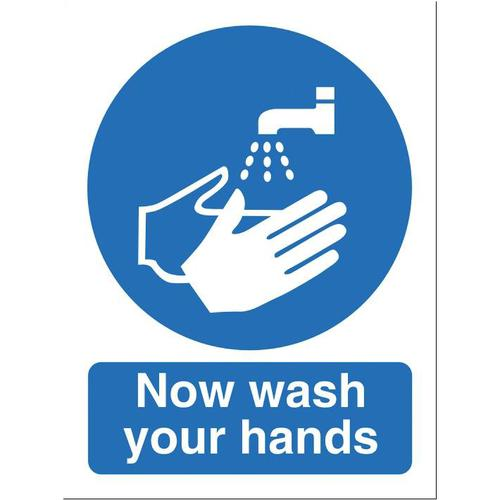 Stewart Superior Now Wash Your Hands Sign W150xH200mm Self-adhesive Vinyl Ref NS022SAV
