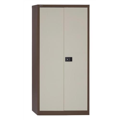 Trexus Two Door Steel Storage Cupboard 914x400x1806mm Coffee/Cream Ref