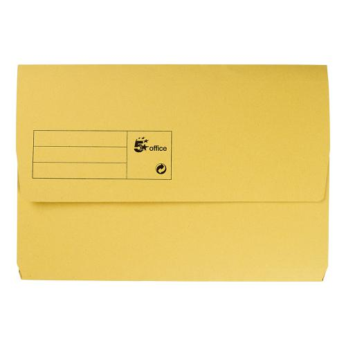 5 Star Office Document Wallet Half Flap 285gsm Recycled Capacity 32mm Foolscap Yellow [Pack 50]