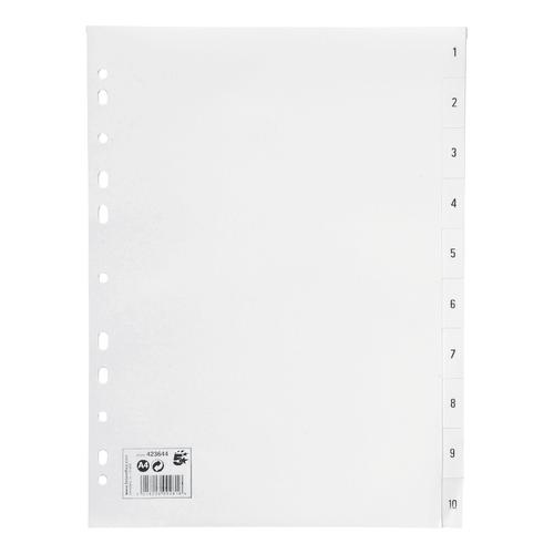 5 Star Office Index 1-10 Polypropylene Multipunched Reinforced Holes 120 Micron A4 White