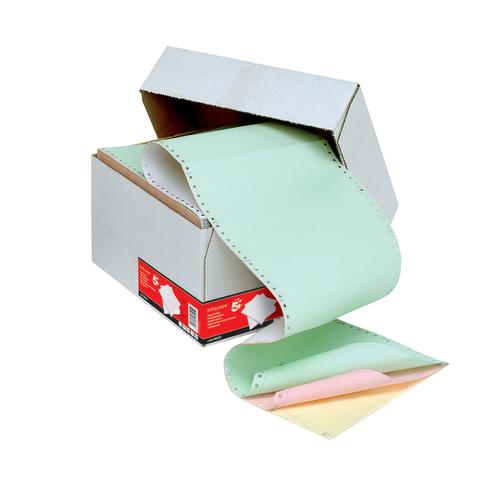 5 Star Office Listing Paper 4-Part NCR Perf 11inchx241mm Plain White/Yellow/Pink/Green [500 Sheets]