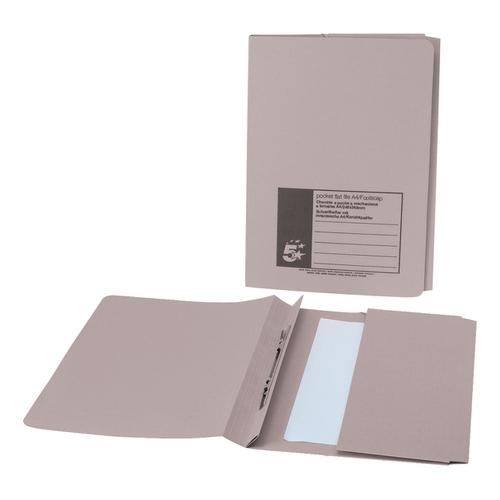 5 Star Office Flat Bar Pocket File Recycled Manilla 285gsm Capacity 200 Sheets Foolscap Buff [Pack 25]