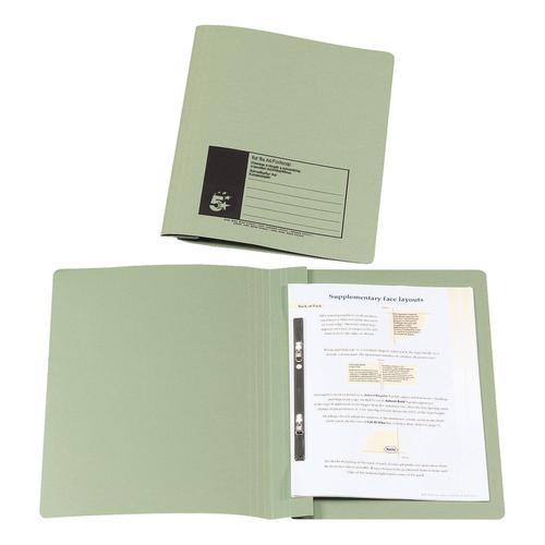 5 Star Office Flat Bar File (no pocket) Manilla 285gsm Capacity 200 Sheets Foolscap Green [Pack 50]