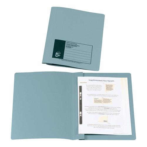 5 Star Office Flat Bar File (no pocket) Manilla 285gsm Capacity 200 Sheets Foolscap Blue [Pack 50]