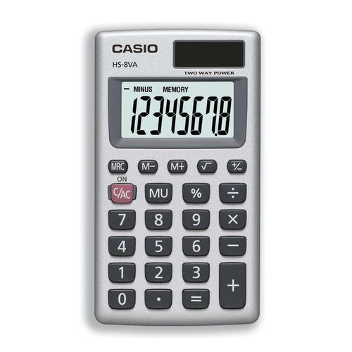 Casio Handheld Calculator 8 Digit 3 Key Memory Solar and Battery Power 57x7x102mm Silver Ref HS8V-S-U-H