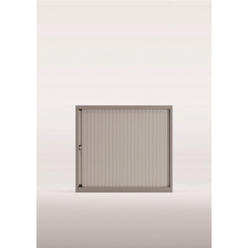 Bisley Desk High Tambour Door Cupboard 800x470x693-708mm Silver/Silver Ref YETBDH0807/1S.SL