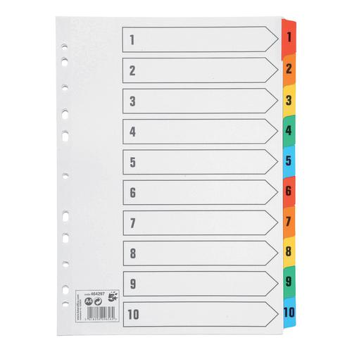5 Star Office Index 1-10 Multipunched Mylar-reinforced Multicolour-Tabs 150gsm A4 White