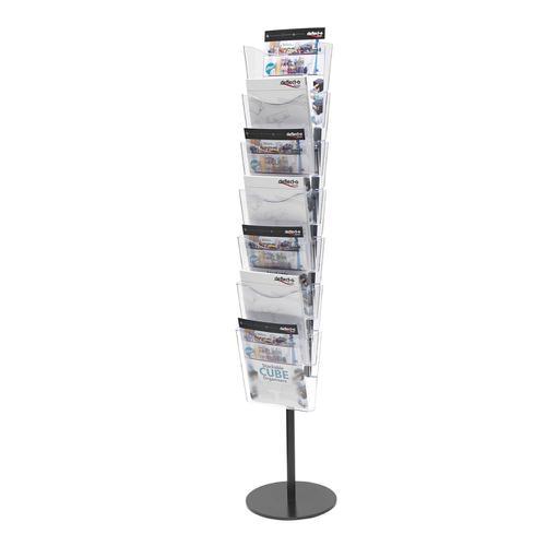 Deflecto Literature Floor Stand Unit Portrait 7 x A4 Pockets 320x320x1485mm Crystal Ref CP082