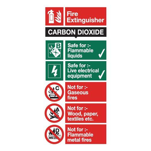 Stewart Superior CO2 Fire Extinguisher Safety Sign W100xH200mm Self-adhesive Vinyl Ref FF093SAV