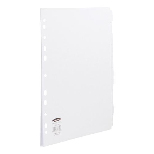 Concord Subject Dividers 10-Part Multipunched Extra Wide 160gsm Extra Wide A4+ White Ref 77801