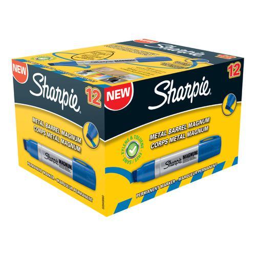 Sharpie Metal Barrel Permanent Marker Magnum Extra Large Chisel Tip - Blue (Box of 12)