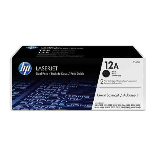 HP 12A Laser Toner Cartridge Page Life 2000pp Black Ref Q2612AD [Pack 2]