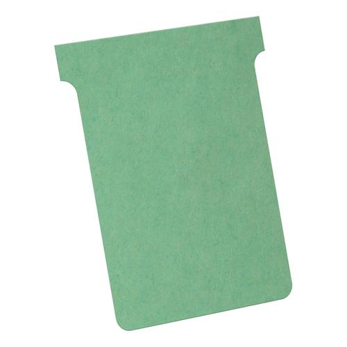 Nobo T-Cards 160gsm Tab Top 15mm W92x Bottom W80x Full H120mm Size 3 Green Ref 32938913 [Pack 100]