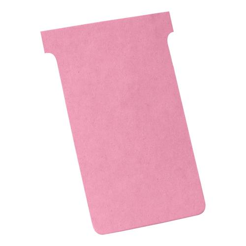 Nobo T-Cards 160gsm Tab Top 15mm W124x Bottom W112x Full H180mm Size 4 Pink Ref 2004008 [Pack 100]