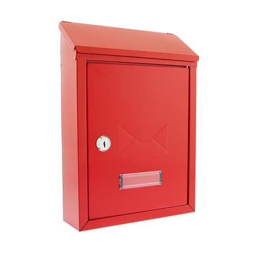 Image for Post or Suggestion Box Wall Mountable with Fixings 223x86x320mm Red