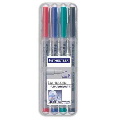 Staedtler 316 Lumocolor Pen Non-permanent Fine 0.6mm Line Assorted Ref 316WP4 [Wallet 4]