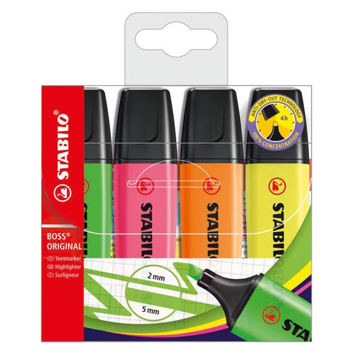 Stabilo Boss Highlighters Chisel Tip 2-5mm Line Wallet Assorted Ref 70/4 [Pack 4]