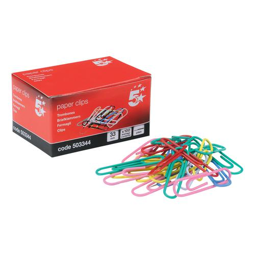 5 Star Office Paperclips Metal Plain Large Length 33mm Assorted Colours [Pack 10x100]