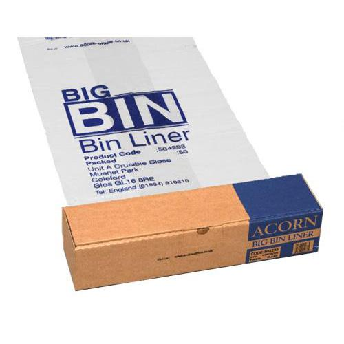 Acorn Bin Liners Reusable Capacity 160 Litres 760x1200mm Clear and Printed Ref 142966 [Roll 50]