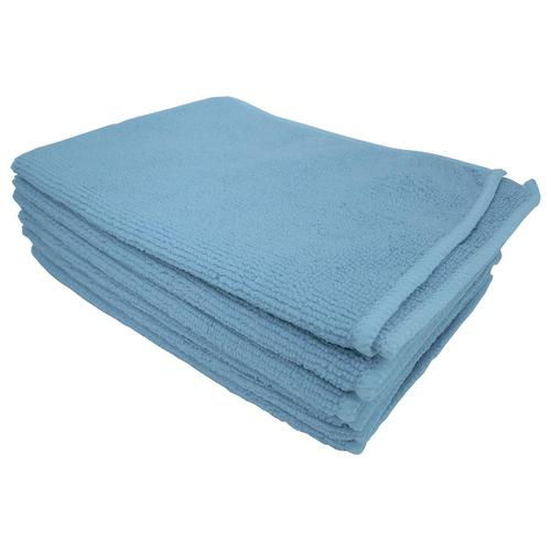 5 Star Facilities Microfibre Cleaning Cloth Colour-coded Multi-surface Blue [Pack 6]