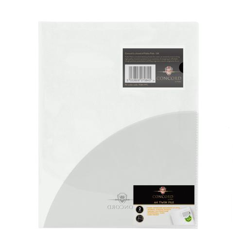 Concord Twinfile Presentation Folder Polypropylene A4 Clear Ref 7084-PFL [Pack 5]