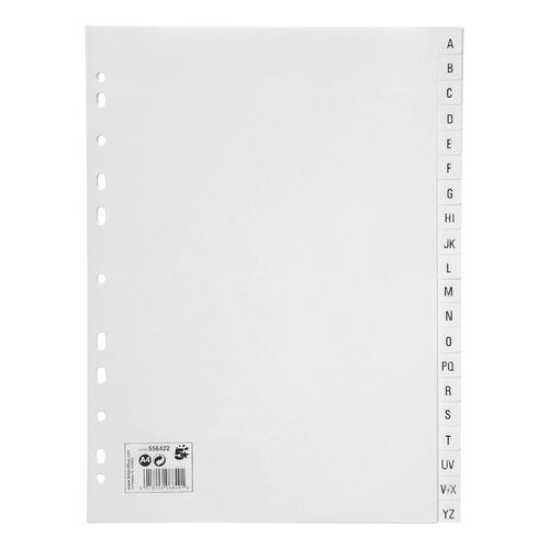 5 Star Office Index A-Z 20-Part Polypropylene Multipunched Reinforced Holes 120 Micron A4 White