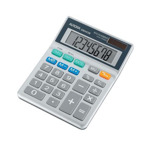 Aurora Semi-desk Calculator 8 Digit 3 Key Memory Battery/Solar Power 102x25x133mm Grey Ref DB453B