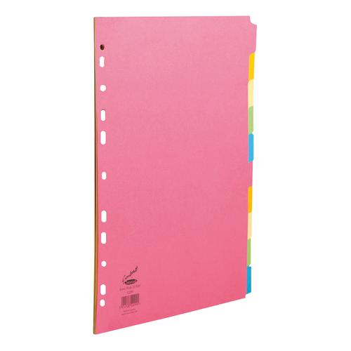 Concord Bright Subject Dividers 10-Part Card Multipunched Extra Wide 160gsm A4+ Assorted Ref 52299